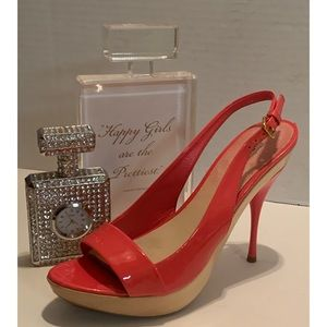MIU MIU Orange PATENT OPEN Slingback STILLETO 9M